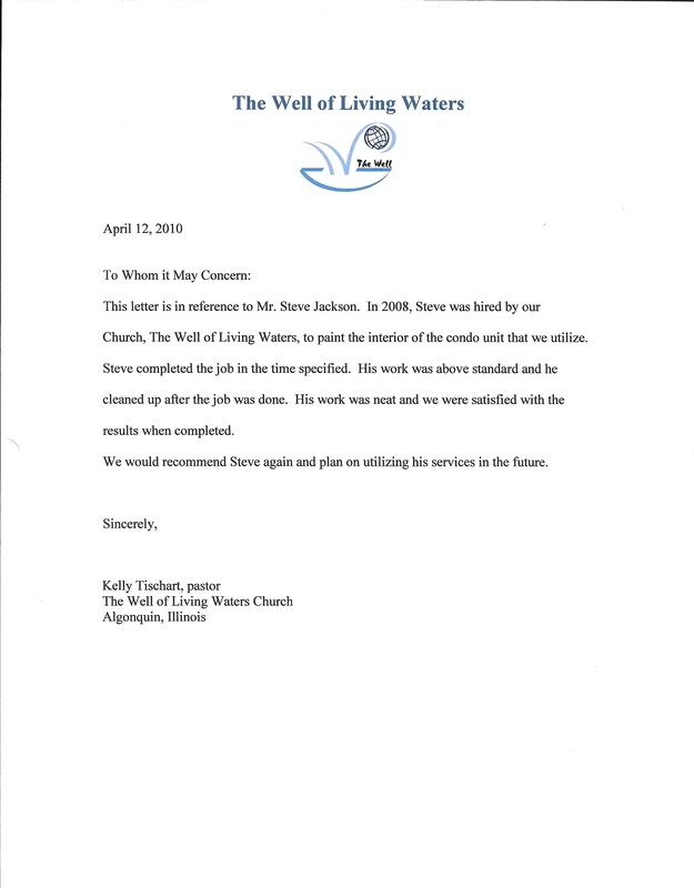 Reference letter from a church